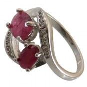 انگشتر نقره یاقوت سرخ دو نگین طرح شادی زنانه