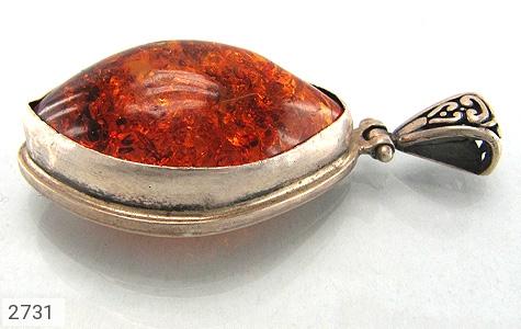 عکس مدال نقره کهربا پوردی درشت طرح سنتی