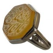 انگشتر نقره عقیق زرد درشت حکاکی یا ابالفضل مردانه