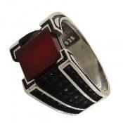 انگشتر عقیق قرمز طرح کلاسیک مردانه