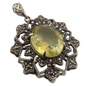 مدال نقره کوارتز لیمویی مرغوب طرح خاتون زنانه