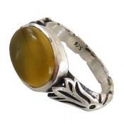 انگشتر نقره عقیق زرد طرح شهرام مردانه