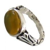 انگشتر نقره عقیق زرد طرح شهراد مردانه