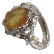انگشتر نقره یاقوت زرد مرغوب طرح پرنسس زنانه