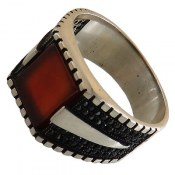 انگشتر نقره عقیق قرمز طرح کلاسیک مردانه