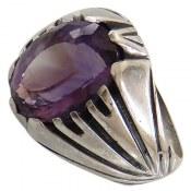 انگشتر نقره آمتیست مردانه