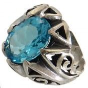 انگشتر نقره توپاز آبی سلطنتی درشت مردانه