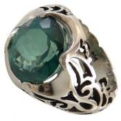 انگشتر نقره توپاز سبز سلطنتی درشت مردانه