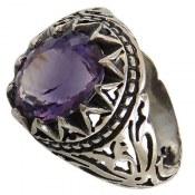 انگشتر نقره آمتیست خوش رنگ مردانه