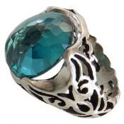 انگشتر نقره توپاز آبی درشت برجسته مردانه