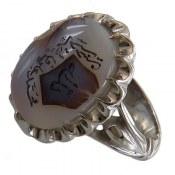 انگشتر نقره عقیق شجر حکاکی پنج تن مردانه