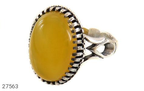 عکس انگشتر نقره عقیق زرد درشت شرف الشمس مردانه