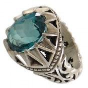 انگشتر نقره توپاز سبز سلطنتی مردانه