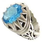 انگشتر نقره توپاز آبی سلطنتی مرغوب مردانه