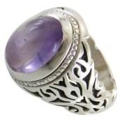 انگشتر نقره آمتیست دامله خوش رنگ مردانه