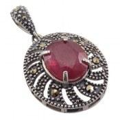 مدال نقره یاقوت سرخ طرح خاتون زنانه
