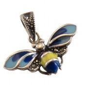 مدال نقره میناکاری طرح زنبور زنانه