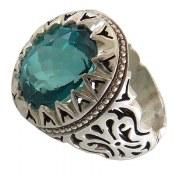 انگشتر نقره توپاز سبز درشت سلطنتی مردانه