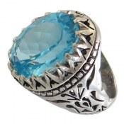 انگشتر نقره توپاز آبی اشرافی درشت فاخر مردانه