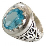 انگشتر توپاز آبی درشت سلطنتی مردانه