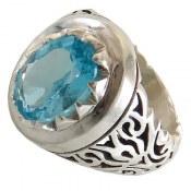 انگشتر نقره توپاز آبی درشت سلطنتی مردانه