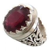 انگشتر نقره یاقوت سرخ شاهانه درشت مردانه