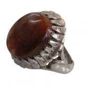 انگشتر نقره عقیق درشت شجر خزه ای طبیعی مردانه