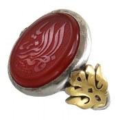 انگشتر نقره عقیق درشت حکاکی یا فاطمه الزهرا مردانه