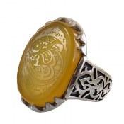 انگشتر نقره عقیق زرد درشت حکاکی یا عباس یا حسین مردانه