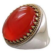 انگشتر نقره عقیق قرمز آبدار درشت مردانه