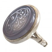 انگشتر نقره عقیق درشت کبود حکاکی حسین منی و انا من حسین مردانه