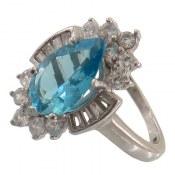 انگشتر نقره توپاز خوش رنگ تراش اشکی زنانه