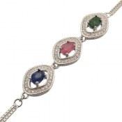 دستبند نقره یاقوت و زمرد مرغوب طرح شهین زنانه