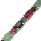 دستبند نقره یاقوت و زمرد بی نظیر اشرافی زنانه