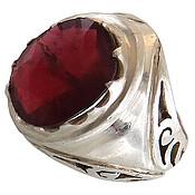 انگشتر نقره یاقوت سرخ درشت اشرافی مردانه