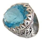 انگشتر نقره توپاز آبی سلطنتی شاهانه مردانه