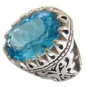 انگشتر نقره توپاز آبی سلطنتی درشت اشرافی مردانه