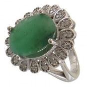 انگشتر نقره زمرد درشت سلطنتی زنانه