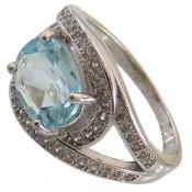 انگشتر نقره توپاز آبی طرح کیمیا زنانه