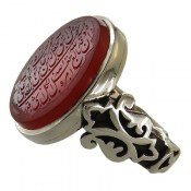 انگشتر نقره عقیق یمن درشت شاهانه حکاکی و من یتق الله مردانه