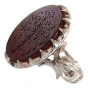 انگشتر نقره عقیق یمن درشت سلطنتی حکاکی و من یتق الله مردانه