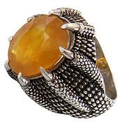 انگشتر نقره یاقوت زرد اشرافی مردانه