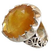 انگشتر نقره یاقوت زرد سلطنتی درشت مردانه