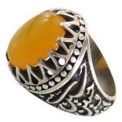 انگشتر نقره عقیق زرد درشت حکاکی شرف الشمس مردانه