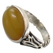 انگشتر نقره عقیق زرد رکاب صفوی مردانه