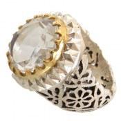 انگشتر نقره در نجف سلطنتی درشت الماس تراش مردانه