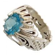 انگشتر نقره توپاز سوئیس مرغوب اشرافی زنانه