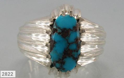 عکس انگشتر نقره فیروزه نیشابوری خوش رنگ مردانه