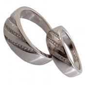 حلقه ازدواج نقره طرح سه ردیفه
