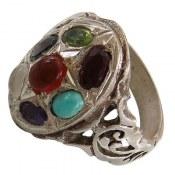 انگشتر نقره چندنگین هفت سنگ معدنی حرز دار مردانه